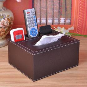 Leather multi-function tissue box home storage box